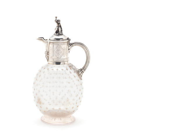 A Victorian silver mounted glass claret jug, by George Angell, London 1865,