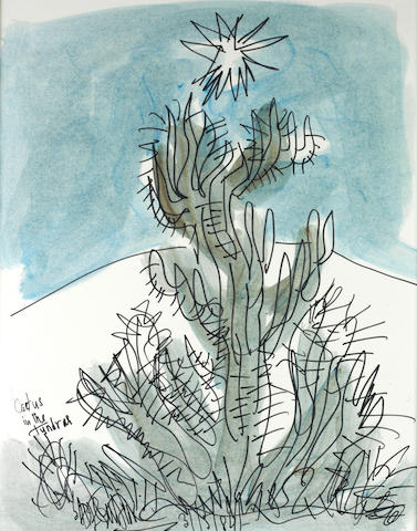 Sadequain (Pakistan, 1937-1987) Cactus in the Tundrah; Untitled (Portrait of Woman) both 70.5 x 55.5cm (27 3/4 x 21 7/8in)