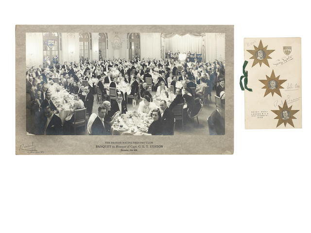 A 1938 BRDC Banquet menu, signed by George Eyston, John Cobb, Richard Seaman, Earl Howe and Major Gardner,