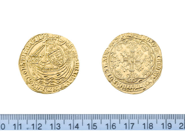 Henry VI, first reign (1422-61), annulet issue (1422-27), Noble, 6.86g, Calais, king standing facing in ship, holding sword and shield, annulet at sword arm, flag at stern,