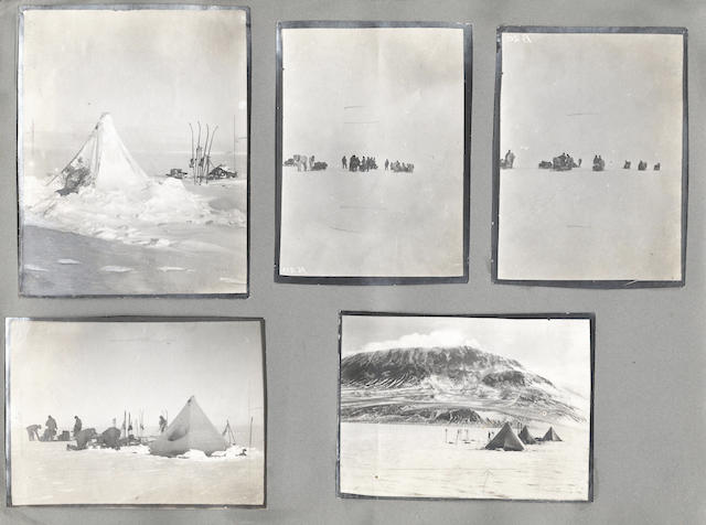 PONTING (HERBERT GEORGE) An album containing an important group of 68 images by Herbert Ponting or 'Birdie' Bowers including Scott and his companions at the South Pole, 1910-1913
