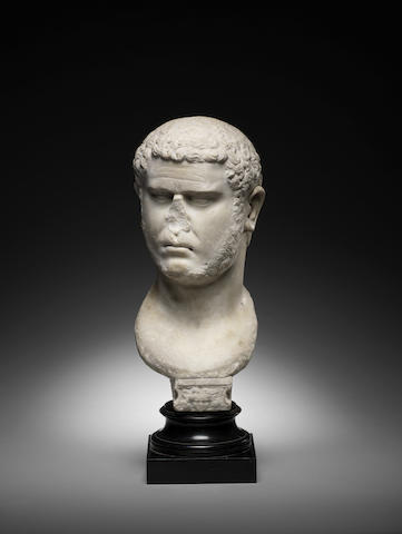 A Roman marble bust of the Emperor Caracalla