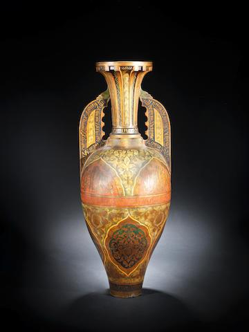 A large Hispano-Moresque pottery Jar Granada, late 19th Century