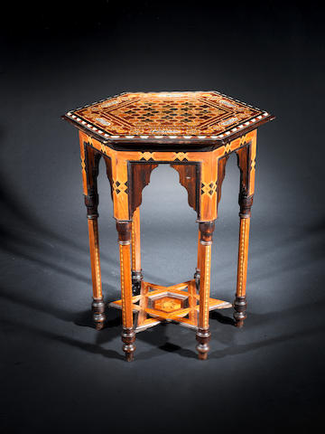 An Hispano-Moresque marquetry wood Occasional Table Granada, circa 1880