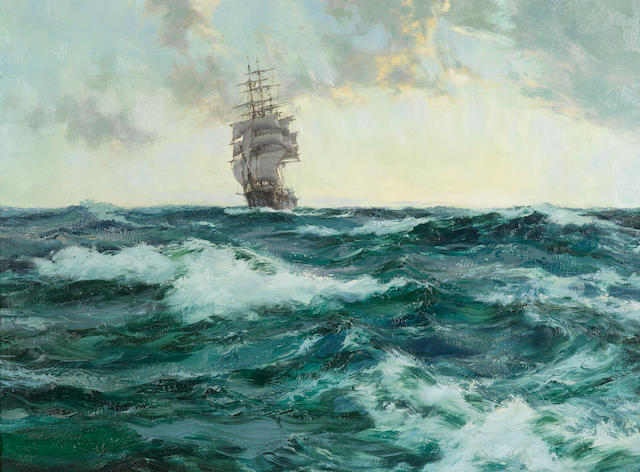 Montague Dawson (British, 1890-1973) Sun-up, Young Australia riding the dawn swell 22 x 29½ in. (55.9 x 75 cm.)