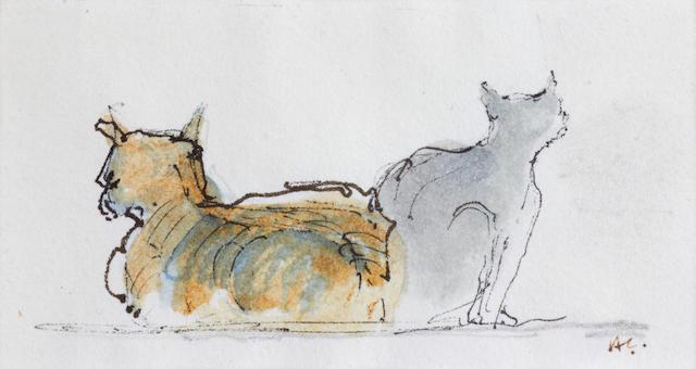 Sir Hugh Casson (British, 1910-1999) Study of cats