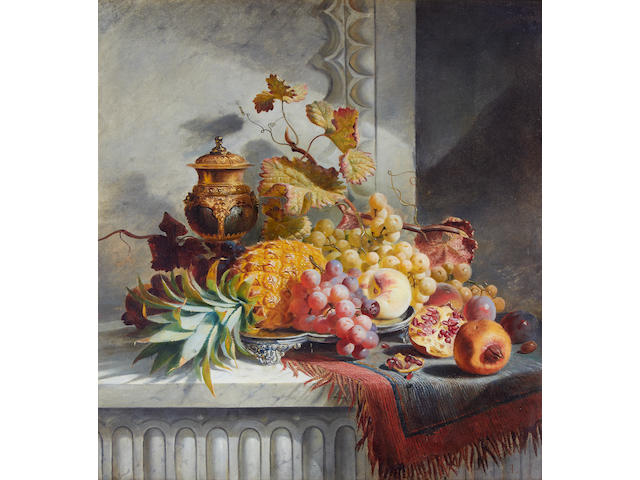 Edward Ladell (British, 1821-1886) Still life with fruit and an urn on a marble ledge