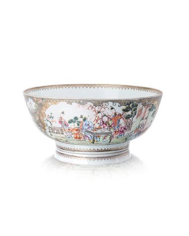 A fine and large famille rose punch bowl Circa 1800