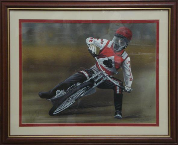 Jim Blanchard, 'Ivan Mauger - Speedway', an original signed artwork,