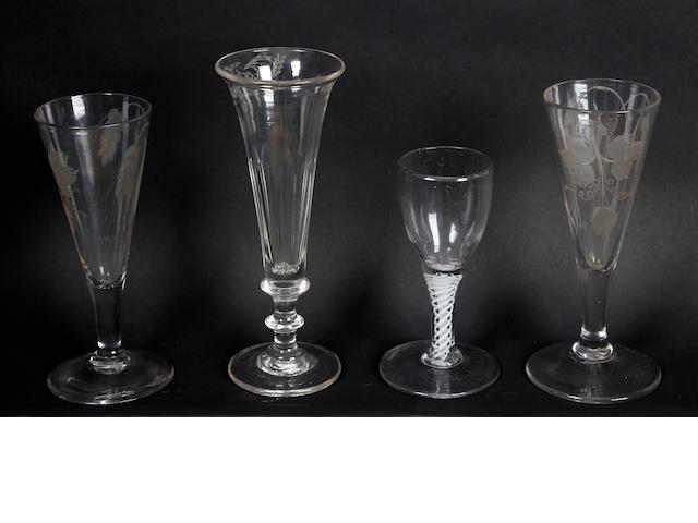 A collection OF four drinking glasses Mid to late 18th Century