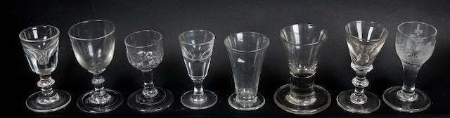 A collection of late 18th/early 19th Century drinking glasses