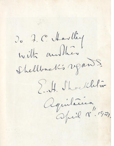 SHACKLETON (ERNEST HENRY) South, fine presentation inscription from Shackleton, 1920