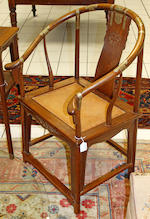 A  pair of Huanghuali brass bound chairs,