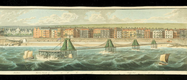 After Robert Havell  (Jr.) 'Coasting view of Brighton' - a panorama showing the coast from Shoreham to the Race Ground.