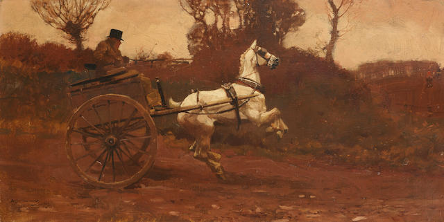 Sir Alfred James Munnings P.R.A., R.W.S. (British, 1878-1959) The Sound of the Motor Car 25.5 x 51 cm. (10 x 20 in.)