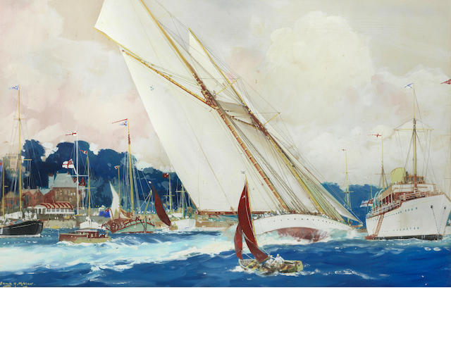 Frank Henry Mason (British, 1875-1965) A big two-masted racing schooner streaking between an anchored motor yacht and smaller craft moored off the Royal Yacht Squadron's home at Cowes