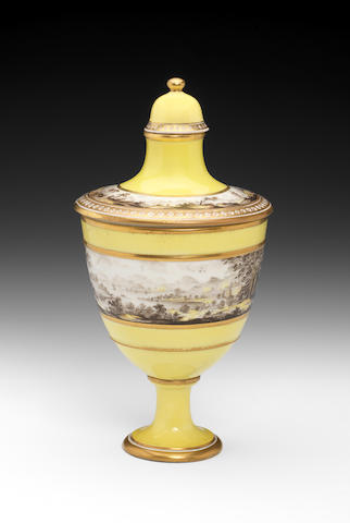 An important Pinxton vase and two covers, circa 1796-99