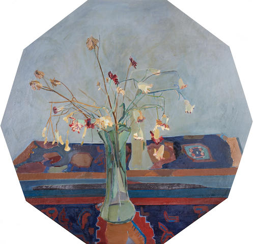 Ben Levene RA (British, 1938-2010) Still life with carnations (decagon)