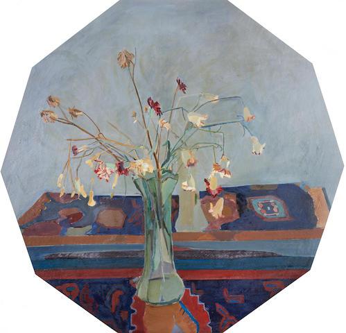 Ben Levene RA (British, 1938-2010) Still life with carnations (decagon)