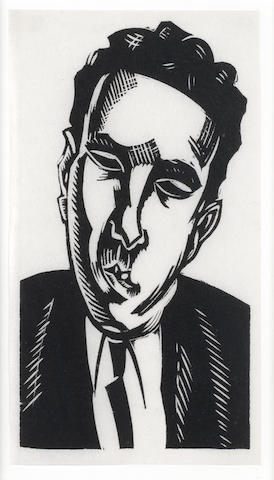 Edward Wadsworth (British, 1889-1949) Rupert Doone Linocut, on thin tissue, 145 x 78mm (5 3/4 x 3 1/8in) (SH)