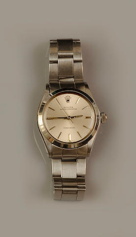 Rolex: A mid size Oyster Speedking Precision stainless steel wristwatch
