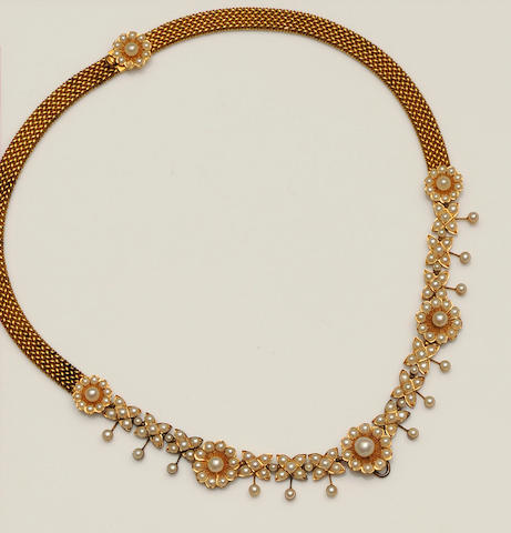 A late Victorian gold mounted half pearl necklace