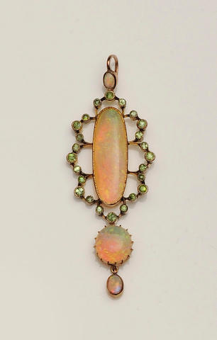 An early 20th century opal and demantoid garnet pendant
