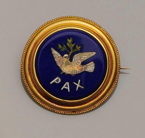 A 19th century gold mounted micro-mosaic circular brooch/pendant