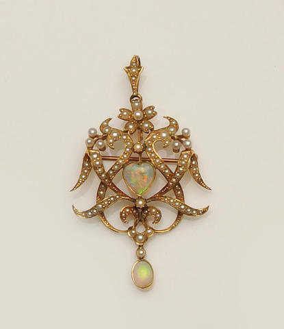 A late 19th century gold opal and seed pearl cartouche brooch/pendant