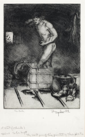 Percy John Delf Smith (British, 1882-1948) The Long Winding Way; Prisoners; The Bath (The Dance of Death) Three etchings from the set of seven, 1914-1918, on wove paper, each signed and variously inscribed in pencil, from the unknown edition size, each with margins (various sizes) (3)