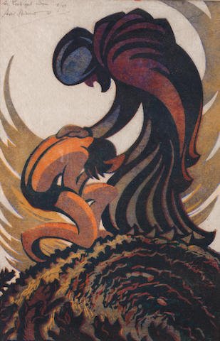 Sybil Andrews, CPE (British/Canadian, 1898-1993) Prodigal Son Linocut, 1939, printed in raw sienna, spectrum red, permanent blue and Chinese blue, on buff oriental laid tissue, with margins, signed, titled and numbered 8/60 in pencil, 326 x 234mm (12 3/4 x 9 1/4in)(SH)