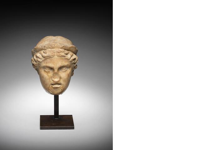 A Roman marble head of a goddess