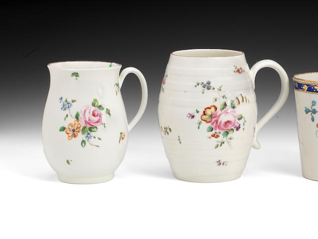 Two Derby mugs, barrel shape, flowers