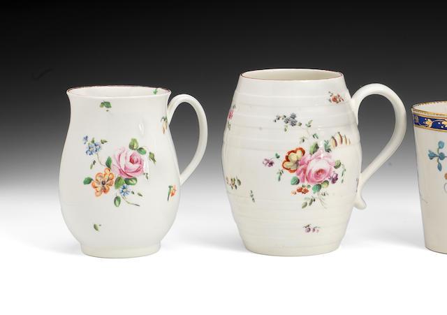 Two Derby mugs, barrel shape, flowers