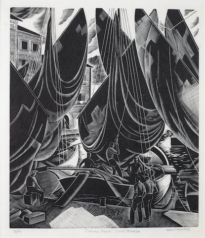 Iain MacNab (British, 1890-1967) Drying Sails, Lake Garda Wood engraving, 1938, a good impression, on japan, signed, titled and numbered 26/50 in pencil, 217 x 190mm (8 1/2 x 7 1/2in)(B)