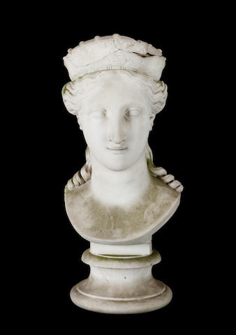 A early 19th century Neo-Classical style Carrara marble bust of a muse