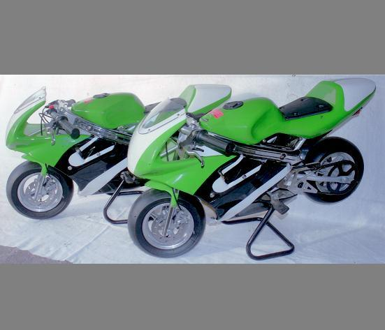 Two miniature racing motorcycles by Mini-Moto,