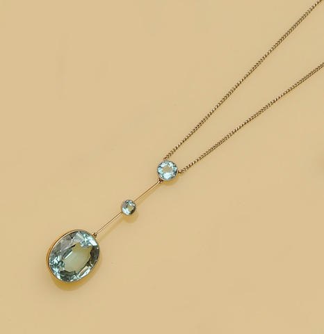 An aquamarine necklace