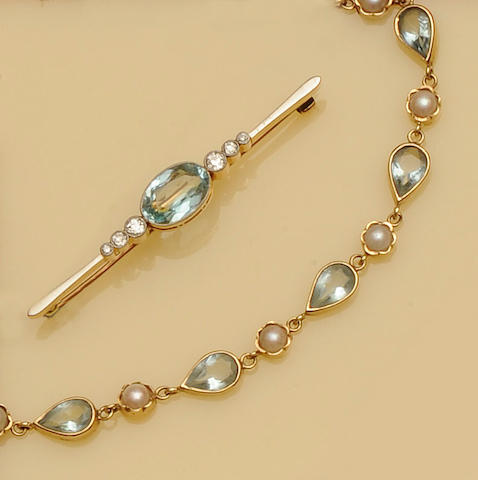 A collection of aquamarine jewellery