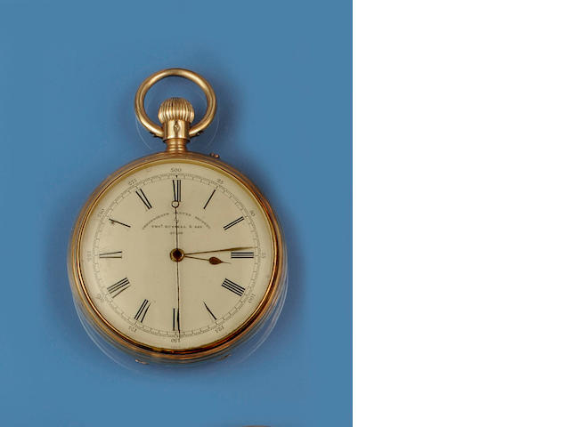 An 18ct gold chronograph pocket watch by Thomas Russell & Son