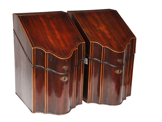 A pair of George III mahogany chequer banded knife boxes,