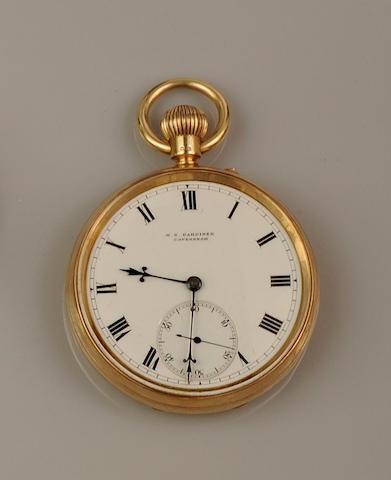 An 18ct gold open face pocket watch