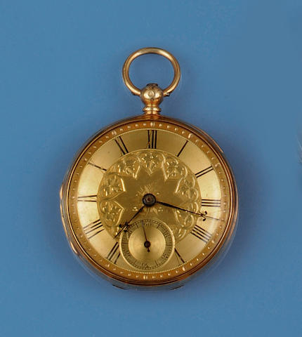 Of military interest: An 18ct gold open face pocket watch