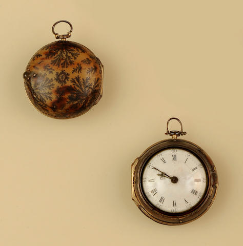 A gilt metal pair-cased pocket watch(2)