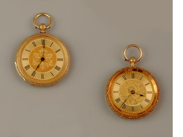 Two open face fob watches(2)
