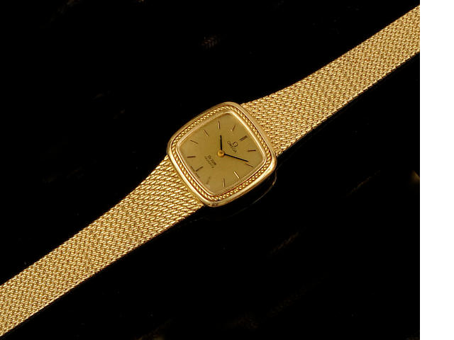 Omega: A lady's 18ct gold De Ville wristwatch