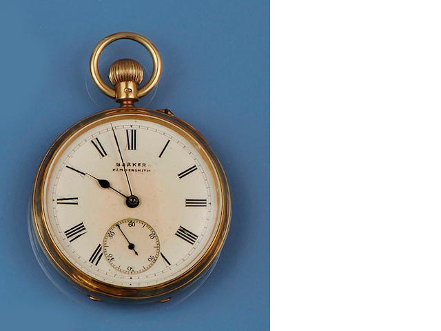 G W Barker, Hammersmith: An 18ct gold open faced pocket watch