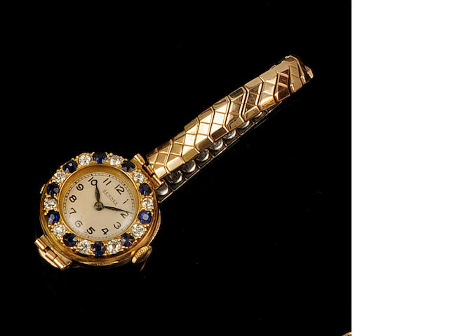 A lady's sapphire and diamond set Bernex watch head