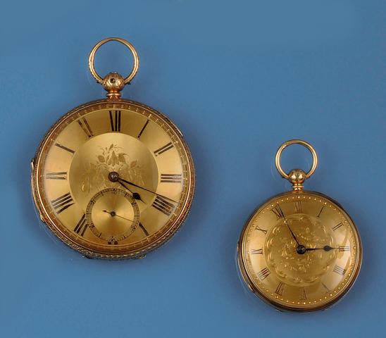 Two 18ct gold open faced pocket watches