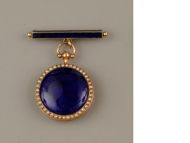 A French enamel and half pearl fob watch